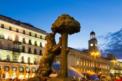 Statue of bear on Puerta del Sol Madrid Spain
